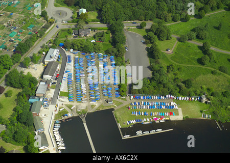 Aerial view of the Wembley Sailing Club on the Welsh Harp Reservoir in North London - Stock Image