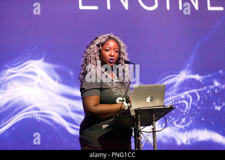 Anne-Marie Imafidon discussing AI and the future of work, on the Engineering Stage, at New Scientist Live - Stock Image