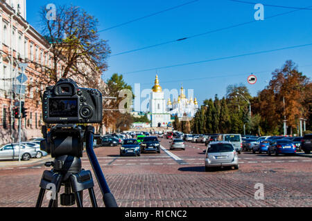 the ancient cathedral in St. Sophia Square in Kiev Kiev, Ukraine 06.11.2018 - Stock Image