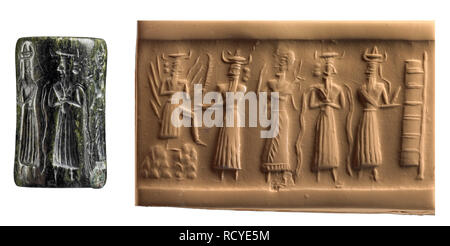 6400. Akkadian cylinder seal depicting the vegetation Goddess sitting on a throne greeted by other deities, Mesopotamia, Akkad, 2350-2150 BC. - Stock Image