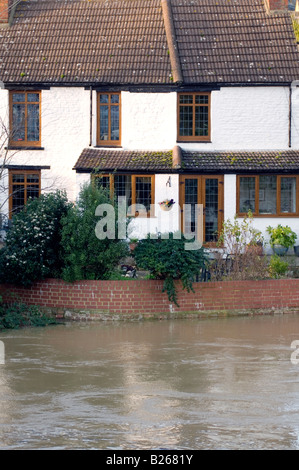 Flooded river in Newport Pagnell near Milton Keynes City of Milton Keynes - Stock Image