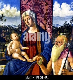 Madonna col bambino é san Girolamo - Madonna with  child collar San Girolamo  by  Giovanni di Niccolò Mansueti ( Giovanni Mansueti 1465 – 1527) Italy, Italian. - Stock Image