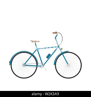 Classic city bike. Flat solated Vector Illustration - Stock Image