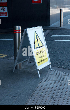 Warning sign 'Attention Vehicle search ahead' during period of terrorism concerns at entrance to Highcross shopping centre Leicester, England, UK - Stock Image