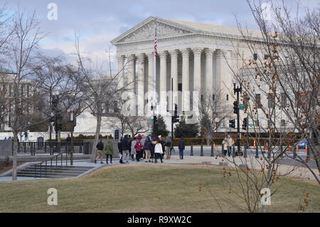 View of Visitors in front of the US Supreme Court Building in Washington DC - Stock Image