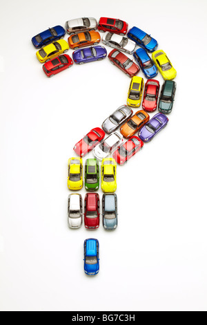 Model Cars in Question Mark Shape - Stock Image