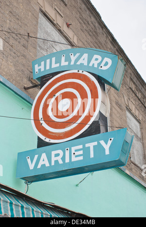Restored sign on the Hillyard Variety store in the Hillyard district of Spokane, Washington State, USA. - Stock Image