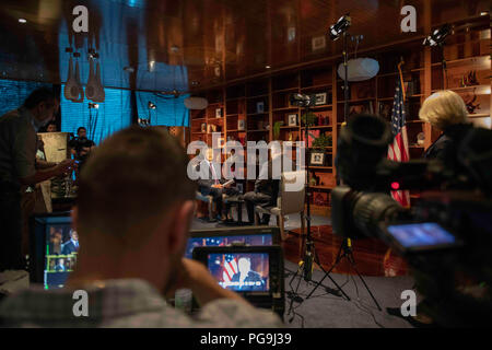 """U.S. Secretary of State Michael R. Pompeo conducts media interviews with """"The National"""" and Sky News Arabia in Abu Dhabi, U.A.E. on July 10, 2018. - Stock Image"""