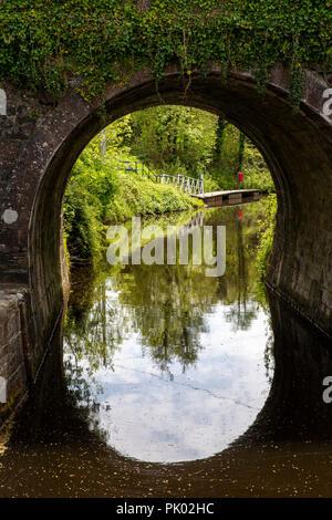 Ireland, Co Leitrim, Drumshanbo, Shannon Blueway canal through R208 road bridge - Stock Image