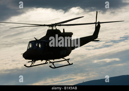 Bell 412HP Slovenian helicopter viewed against clouds, Airshow Maribor 2008, Slovenia June 15, 2008 - Stock Image