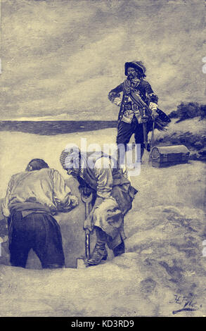 Captain William Kidd and his crew burying treasure, at Gardiner's Island. Illustration by Howard Pyle - Stock Image