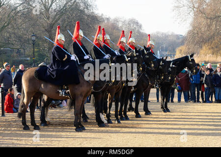Changing of the Horse guard parade, at Horse Guard's Palace , London, United Kingdom. - Stock Image