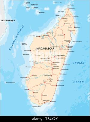 Republic of Madagascar road vector map - Stock Image