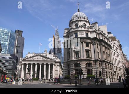 Cornhill and Threadneedle Street London Royal Exchange building on left - Stock Image
