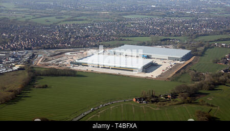 aerial view of 2 new industrial units being constructed next to Haydock Lane Industrial Estate just north of the A580 road, north east of St Helens - Stock Image