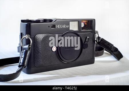 Film camera, Konica Hexar RF vintage Japanese rangefinder camera now discontinued - Stock Image