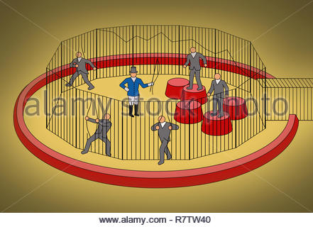Businessmen escaping from cage ignoring circus ringmaster - Stock Image