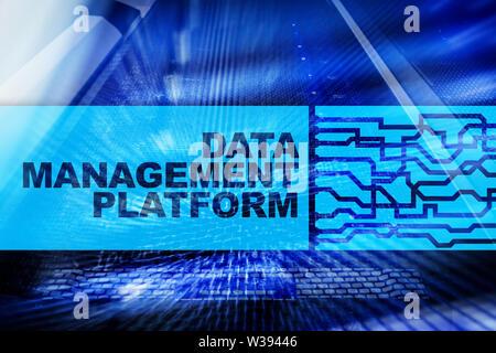 Data management and analysis platform concept on server room background - Stock Image