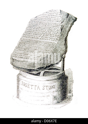 Antique line drawing of the Rosetta Stone - Stock Image