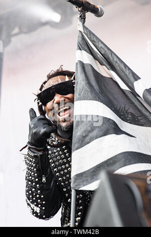 Copenhagen, Denmark. 20th June, 2019. Copenhagen, Denmark - June 20th, 2019. The Welsh metal band Skindred performs a live concert during the Danish heavy metal festival Copenhell 2019 in Copenhagen. Here vocalist Benji Webbe is seen live on stage. (Photo Credit: Gonzales Photo/Alamy Live News - Stock Image