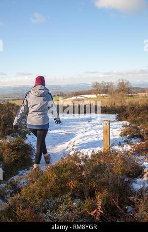 Woman wearing waterproof clothing and hat walking through snow in winter over Bickerton Hills in South Cheshire England UK - Stock Image