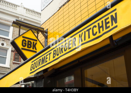 Exterior of Gourmet Burger Kitchen (GBK) upmarket burger chain restaurant in Earl's Court, London, UK - Stock Image