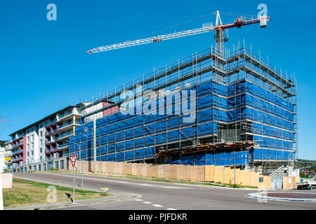 Gosford, New South Wales, Australia - August 4. 2018: Construction site and building progress update 115. Perspective on new home units building site  - Stock Image