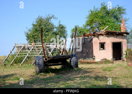 broken collapsed outbuilding in the garden of a rural village house zala county hungary - Stock Image