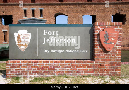 Brick signage marking the entrance to Fort Jefferson at Dry Tortugas National Park, Florida - Stock Image