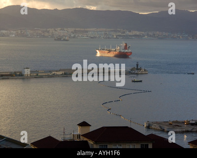 Dusk over the Bay of Gibraltar Tankers - Stock Image