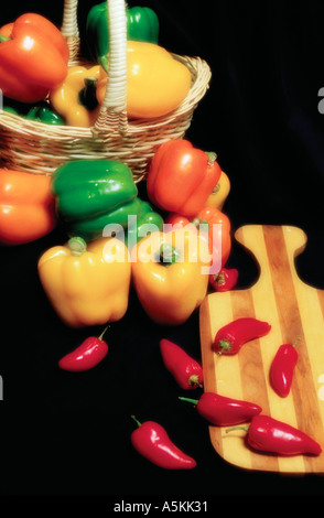 A basket of Fresh Peppers 1994 - Stock Image