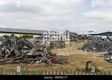 Demolition of the Howard Smith Paper Ltd factory, to make way for a new development; Brackmills Industrial Estate, Northampton, UK - Stock Image
