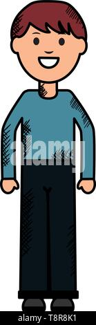 young man avatar character vector illustration design - Stock Image
