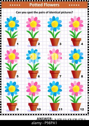 IQ and memory training visual puzzle with potted flowers: Can you spot the pairs of identical pictures? Answer included. - Stock Image