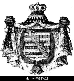 Coat of arms of Saxony, ,  (cultural history book, 1875) - Stock Image