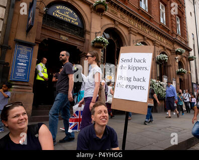 London, UK. 23rd June 2018. A statement outside Wetherspoons pub on Whitehall as the anti-Brexit  March for a Peoples Vote passes by.  Credit: Scott Hortop/Alamy Live News. - Stock Image
