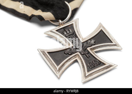 German Iron Cross Close Up Isolated on White. - Stock Image