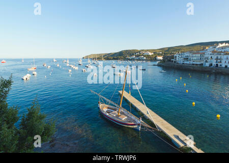 Panoramic view of the Spanish town of Cadaques,the famous small village of Costa Brava, Catalonia - Spain - Stock Image