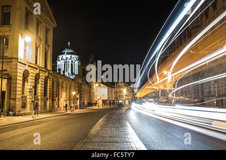 Light Trails on Oxford's High Street - Stock Image