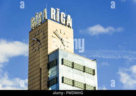 Clock tower in Riga city center, Latvia - Stock Image