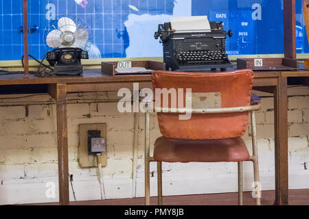Liverpool Exchange Flags Western Approaches HQ WWII Second World War Derby House museum bunker Citadel Fortress Citadel or Fortress desk typewriter - Stock Image