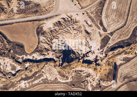 Spain, Navarra, Bardenas Reales, aerial view - Stock Image