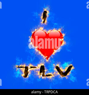 Digitally enhanced image of I love TLV (Tel Aviv, Israel) with a flaming heart shaped graphic on blue  background - Stock Image