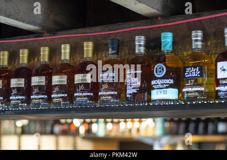 Whisky Bottles at Bruichladdich Distillery, Islay, Scotland - Stock Image