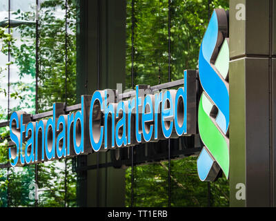 Standard Chartered Bank London - the Standard Chartered Bank Offices at 1 Basinghall Avenue in the City of London Financial District - Stock Image