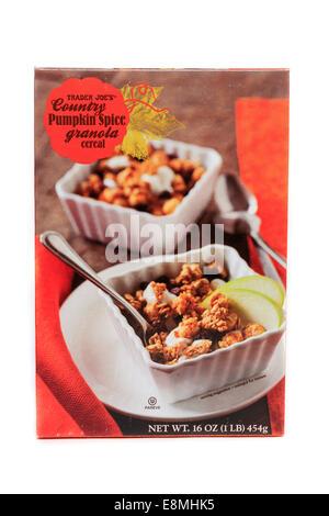 A box Trader Joe's Country Pumpkin Spice Granola Cereal - Stock Image