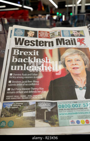 The Western Mail newspaper headlines 'Brexit Backlash Unleashed'  Brexit deal in Wales UK 16 November 2018 - Stock Image
