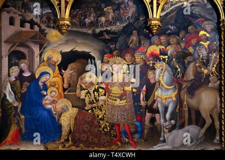 Adoration of the Magi, detail, Gentile da Fabriano, 1423, Galleria degli Uffizi, Uffizi Gallery, Florence, Tuscany, Italy - Stock Image