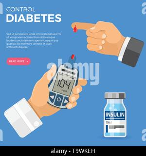 Doctor hand holds blood glucose meter and finger with blood drop. Sugar level testing, treatment, monitoring and diagnosis of diabetes concept. icon i - Stock Image