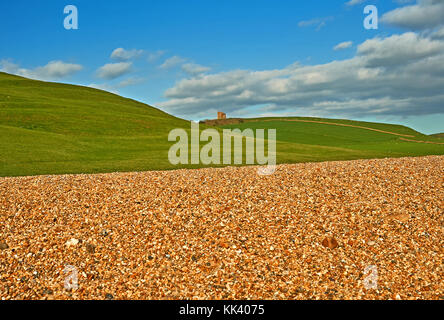 View towards St Catherine's Chapel from Chesil Beach in Dorset - Stock Image